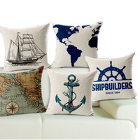 Wholesale Pillow Cases Vintage Linen Cotton - 2017 New Pillow Cover Decorate Vintage Mediterranean Capa Almofada Marine style Throw Pillows Gifts Pillow Case
