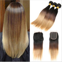 1b 27 koyu kök ombre saç toptan satış-# 1B / 4/27 Bal Sarışın Ombre Brezilyalı Saç 3 Demetleri Ile Dantel Kapatma Koyu Kökleri Üç Ton İpeksi Düz Ombre Saç Örgüleri Ile Kapatma