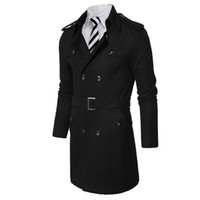 Wholesale Korean Fashion Xxl - New Arrival Korean Style 2017 Men Fashion Long Coat Men's Business Style Pure Color Button Coat 2Color M-XXL