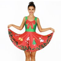 Wholesale Sexy Girl Santa - NEW Arrial 129 Sexy Girl Women Summer Halloween Christmas Santa Claus snowman Prints Reversible Sleeveless Skater Pleated Dress