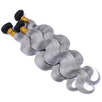 Wholesale Wavy Ombre Weave - 8A Platinum Grey Ombre Hair 3Bundles Dark Roots 1B Grey Ombre Peruvian Hair Two Tone Body Wave Wavy Hair Weaves
