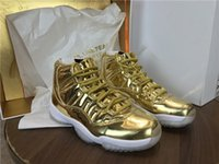 Wholesale High Top Training Shoes - Wholesale New 11 XI high Metallic gold white men Basketball Shoes sneakers Sports fashion training sneakers top quality size 8-13