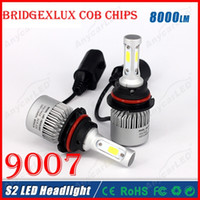 Wholesale audi led headlamp - 2016 NEW 1 Set S2 9007 HB5 60W 8000LM LED Headlight System Light Kit Bridgelux COB Chips 3 Side High Low Beam All in one Headlamp HID Haloge