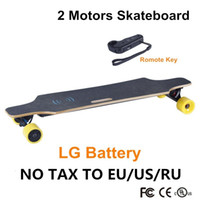 Wholesale Dual Motor Driver - 2016 four Wheels electrical scooter New Electric Skateboard LG 4.4Ah Dual Driver Motor with remote control hoverboard longboard