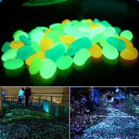 Wholesale Glow Pebbles Wholesale - Wholesale- 100 pcs Glow In The Dark Luminous Pebbles Stones For Wedding Romantic Evening Festive Events Garden Decorations Crafts-L1