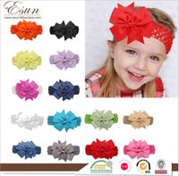 Wholesale Diamond Hair Clip Children - 20 Color Baby Big Lace Bow Headbands Girls Cute Bow Hair Band Infant Lovely Headwrap Children Bowknot Elastic Accessories Butterfly Hair Cl