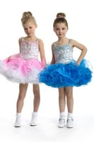 Wholesale Colourful Crystal Dress - Colourful Toddler Ball Gowns Beads Spaghetti Infant Mini Skirts Little Princess Girls Crystal Pageant Dresses By Rhinestones Prom Party
