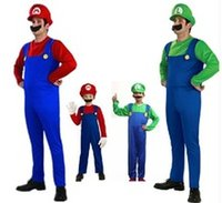 Wholesale Cheap Wholesale Cosplay - 50 Set Cheap 2017 Halloween Cosplay Costumes Super Mario Luigi Brothers Fancy Dress Up Party Cute Costume For Adult Children CS003