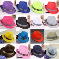 Wholesale Orange Fedora - 10 Colors Men Women Children Sun Hats Soft Fedora Panama Hats Summer Spring Outdoor Jazz Stingy Brim Caps Fashion Street Top Hats GH-38
