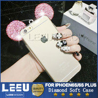 Wholesale Clear Silicone Ears - Bling Bling Glitter Mickey Ears Diamond Case for iphone 6S Plus Soft clear TPU Case for galaxy s7 edge s6edge LG huawei