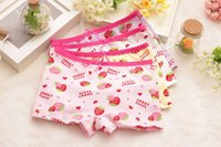 Wholesale Strawberry Boxers - Children Kids Briefs girls Panties Cotton Strawberry Print Designer 2016 Band Quality Kids Underwear Boxers Lot ZA0237