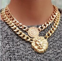 Wholesale Queen Head Necklace - 18k Gold physiognomy Lion Head Fixed Pendant Cuba Chain Link Medallion Queen