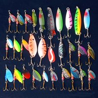 Wholesale free saltwater lures online - 30Pcs Fishing Lure Spoon Mixed Color Size Weight Hook Diving Depth Spinner Metal Lures Hard Bait Fishing Tackle Free Ship