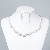 Wholesale necklace water pearls for sale - 15050 Fashion Cheap In Stock Elegant Wedding Bridal Prom Rhinestone Pearlsl Jewelry Necklace Earring Set Hot Sale