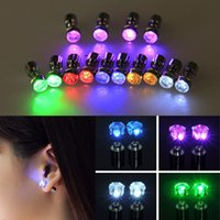 Wholesale Earring Glow Studs Wholesale - Fashion Light Up Bling LED Stud Earrings Flash Style Glowing Crystal Rhinestone Crown Ear Studs Party Jewelry Accessories MOQ:50Pairs