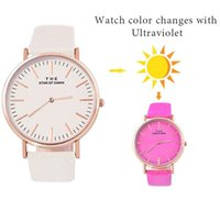 Regarder Les Changements De Couleur Pas Cher-Mode Femmes Change Color Watch Bracelet en cuir PU Ultraviolet Décoloration Montres-bracelets Lady Girl Casual Dress Montre cadeau