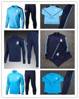 Wholesale France T Shirt - 1718 France Olympique de Marseille Andre and Lucho Gignac football training service blue T-shirt and blue turtleneck long sleeved suit suit