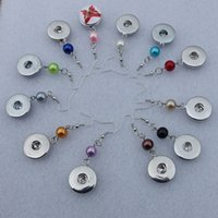 Wholesale Mix Dangle Beads - 20 pairs lot Mix Colors fashion 18mm snap button earrings,pearl beads metal ginger snap button dangle earring women jewelry