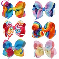 Wholesale school hair bows - Back to School 4 Inch Rainbow Hair Bow On Clip For Kid Girl Bows For Gifts
