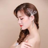 Wholesale Silver Butterfly Ear Cuff - Retail Handmade Crystal BrideTassel Butterfly Fringe Ear Cuff Earring Pearl NO PIERCING Gothic Punk Fancy Dress ER787