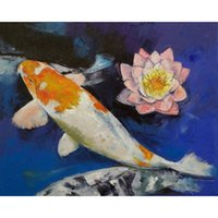 Wholesale Water Lily Paint - Fish Carp and Water Lilies Full Drill DIY Mosaic Needlework Diamond Painting Embroidery Cross Stitch Craft Kit Wall Home Hanging Decor