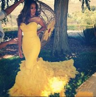 Wholesale New Fitted Evening Dress - 2016 Fancy New Yellow Backless Mermaid Prom Dress Sweetheart Ruffles Long Prom Gowns Vestidos Fitted Prom Dresses Party Fiesta Evening Gowns