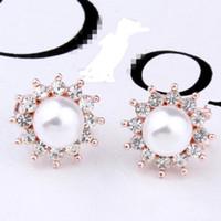 Wholesale Korean Wedding Fashion Design - New Design Fashion Korean crystal Pearl Earrings Gold color Stud Earrings for Women Wedding Jewelry hot sale