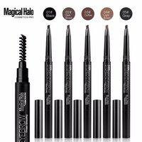 Wholesale Triangle Makeup Brush - Magical Halo New Style Triangle Auto Rotate Eyebrow Pencil Double Head With Brush Eyebrow Makeup Tool