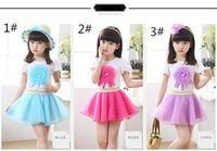 Wholesale Coloured Veils - 2015 new Korean Style net veil children girls summer clothing children dress suit 2 pcs   set A080539