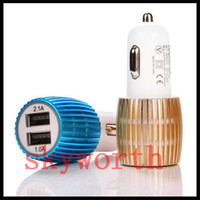Wholesale Usb Cannon - Sliver gold Metal cannon style 3.1A 2.1A Dual USB car charger Adapter for samsung iphone