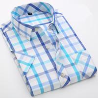 Wholesale British Holidays - Fashion British Style Short Sleeve Men Plaid Shirt 100% Cotton Boys Male Slim Fit Casual Shirt Beach Holiday Summer Plus 4XL