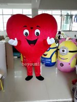 Wholesale Heart Costumes Adults - Red Heart of Adult Mascot Costume Adult Size Fancy Heart Mascot Costume free shipping
