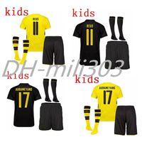 Wholesale Youth Xl Football Jersey - AAA+ 17 18 Dort mund kids soccer jersey kit 2017 2018 DortmundS AUBAMEYANG GOTZE DEMBELE PULISIC REUS youth jerseys football shirts+socks