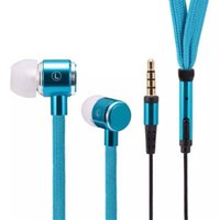 Wholesale Shoelace Earphones - New High Quality Stereo Headset In-Ear Metal Shoelace Earphone Handsfree With Mic 3.5mm Earbuds For MP3 Player with retail packing 17-EM
