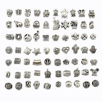 Wholesale Glass Cubes Jewelry - Mix 29 Style Big Hole Loose Beads charm For Pandora DIY Jewelry Bracelet For European Bracelet&Necklace-J917