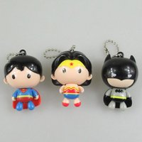 """Wholesale Top Toy Figures - Top New 3 Styles 2"""" 5CM Cartoon PVC Figure Wonder Woman Anime Collectible Action Figures Pendants Keychains For Best Gifts Toys"""