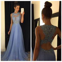 Wholesale Chiffon Beach Dresses Online - 2017 Kylie Jenner Sexy Jewel Neck A Line Beach Chiffon Lace Beading Sequined Evening Dresses Maroon Lavender Long Prom Dresses Custom Online