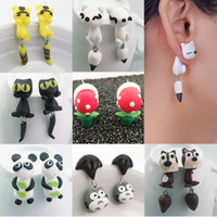 Wholesale Wholesale Polymer Clay Earrings - New Womens Jewelry Accessories cartoon cat Handmade Fox cat Cartoon hand ear hanging Earrings earrings Animal Cat Polymer Clay Earrings