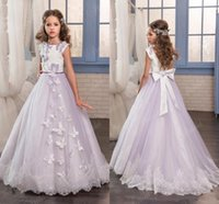 Wholesale lilac child dress - 2017 Lilac Flower Girls Dresses For Weddings Jewel Neck White Lace Appliques Bow Sweep Train Butterfly Birthday Children Girl Pageant Gowns