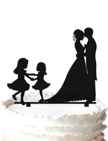 Wholesale Family Cakes - Family wedding cake topper-kissing bride and groom and two girls,37 color for option Free Shipping