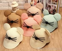 Wholesale Sun Hat Cat - Children's Hat Cat whiskers Mickey Ears Baseball Hat Sun Visors Caps Unisex Kids Caps Hats Assorted Colour YERAN-137