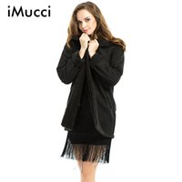 Wholesale Trench Coat Femme - Wholesale-Autumn & Winter New Casual Thicker Long Women Coat Long Sleeve Hooded Collar Solid Woolen Coats Black Cardigan Trench Femme