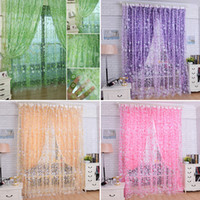 1Pc Housing Home Nouveau Floral Tulle Voile Door Window Curtain Drape Panel Sheer Scarf Valances Sheer Curtains E00614