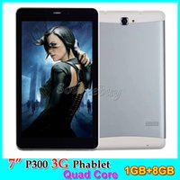 Wholesale tablet ram g online - 1GB RAM GB ROM G Unlocked P300 Tablet PC inch IPS Screen Dual SIM Cameras Quad Core Bluetooth Android4 Phablet