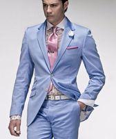 Wholesale Men Light Blue Suit Wedding - Sell like hot cakes!Men suits slim fit light blue suits wedding suits tuxedos groom (Jacket+Pants)