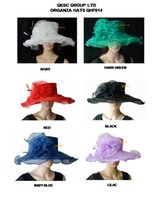 Wholesale Organza Wedding Hats - Organza hat sinamay hat with flower and feather,for wedding races party church.green,lilac,ivory,red,black,navy blue.