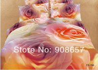 Wholesale Comforter Wedding Twill - pink sexy rose flower wedding 3D printed home bedding comforter cotton queen full duvet quilt cover set bed linen coverlet 4-5pc