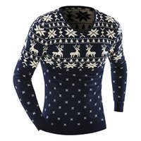 Wholesale Men Dress Sweaters - Wholesale-Men's Animal Pattern 2016 Fashion Brand pull homme Cashmere Wool Pullover christmas sweater men Dress Knitted Sweater