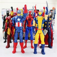 ironman toy pvc großhandel-30 cm Captain America Ironman Spider-Man Wunder Rächer PVC Action Figure Superheld Cartoon Figuren Spielzeug OOA2877