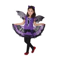 4-12T cartoon vampires - Purple Batgirl Cosplay costume three piece sets hair accessory dress wings Vampire dress for children Halloween party clothes for girls EMS